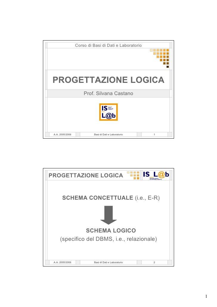 Corso di Basi di Dati e Laboratorio      PROGETTAZIONE LOGICA                       Prof. Silvana Castano      A.A. 2005/2...