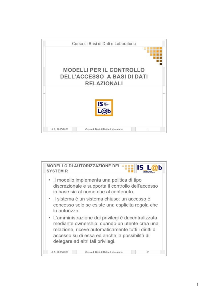 Corso di Basi di Dati e Laboratorio              MODELLI PER IL CONTROLLO         DELL'ACCESSO A BASI DI DATI             ...