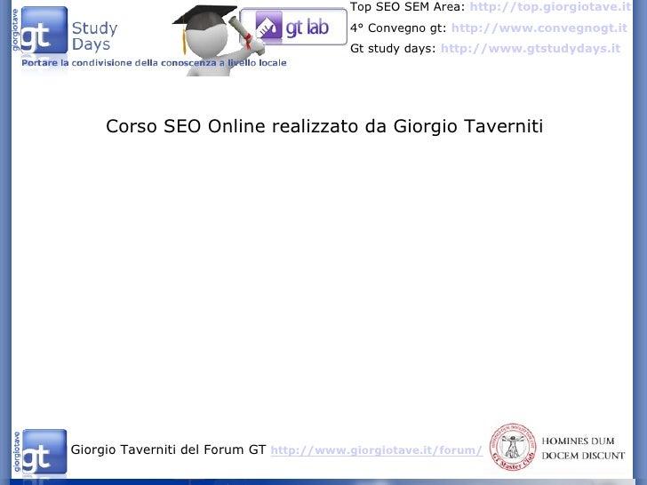 Corso SEO Online realizzato da Giorgio Taverniti