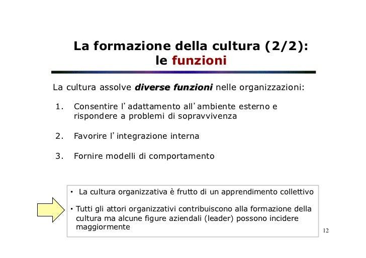 La formazione della cultura (2/2):                 le funzioniLa cultura assolve diverse funzioni nelle organizzazioni:1....
