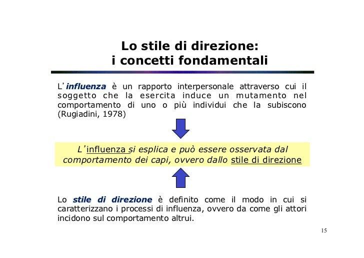 Lo stile di direzione:              i concetti fondamentaliL'influenza è un rapporto interpersonale attraverso cui ilsogge...