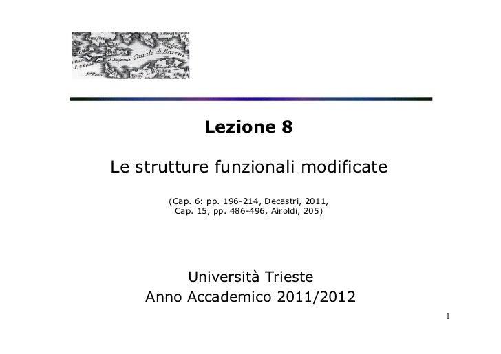 Lezione 8Le strutture funzionali modificate       (Cap. 6: pp. 196-214, Decastri, 2011,        Cap. 15, pp. 486-496, Airol...