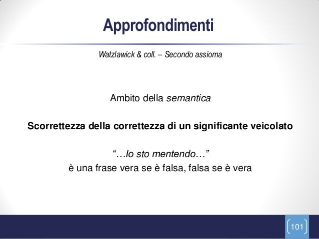 Approfondimenti                Watzlawick & coll. – Secondo assioma                   Ambito della semanticaScorrettezza d...