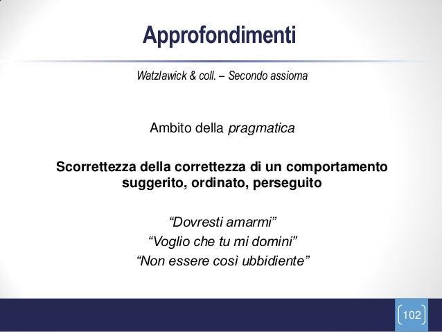Approfondimenti            Watzlawick & coll. – Secondo assioma              Ambito della pragmaticaScorrettezza della cor...