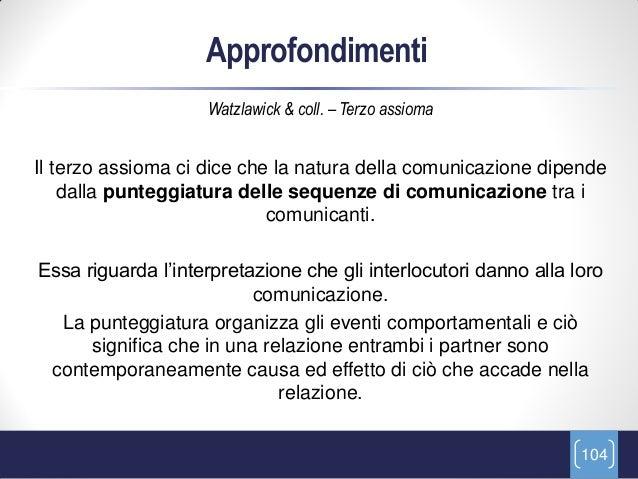 Approfondimenti                    Watzlawick & coll. – Terzo assiomaIl terzo assioma ci dice che la natura della comunica...