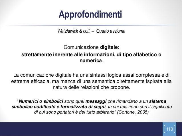 Approfondimenti                       Watzlawick & coll. – Quarto assioma                      Comunicazione digitale:    ...