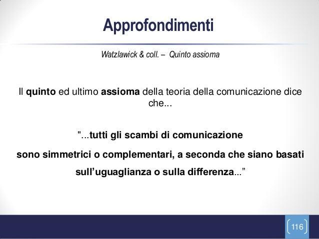 Approfondimenti                  Watzlawick & coll. – Quinto assiomaIl quinto ed ultimo assioma della teoria della comunic...