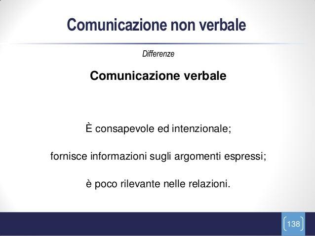 Comunicazione non verbale                   Differenze        Comunicazione verbale       È consapevole ed intenzionale;fo...