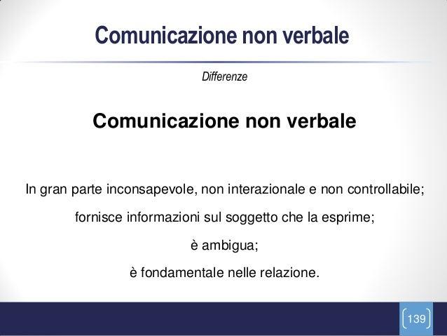 Comunicazione non verbale                             Differenze           Comunicazione non verbaleIn gran parte inconsap...