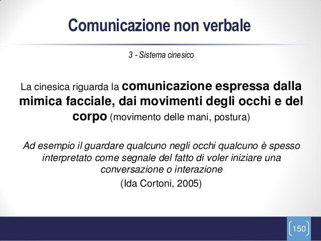 Comunicazione non verbale                       3 - Sistema cinesicoLa cinesica riguarda la comunicazioneespressa dallamim...
