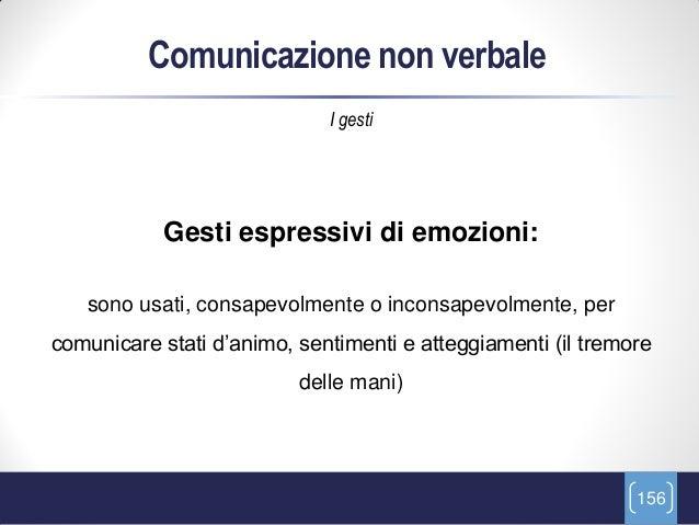 Comunicazione non verbale                             I gesti            Gesti espressivi di emozioni:   sono usati, consa...