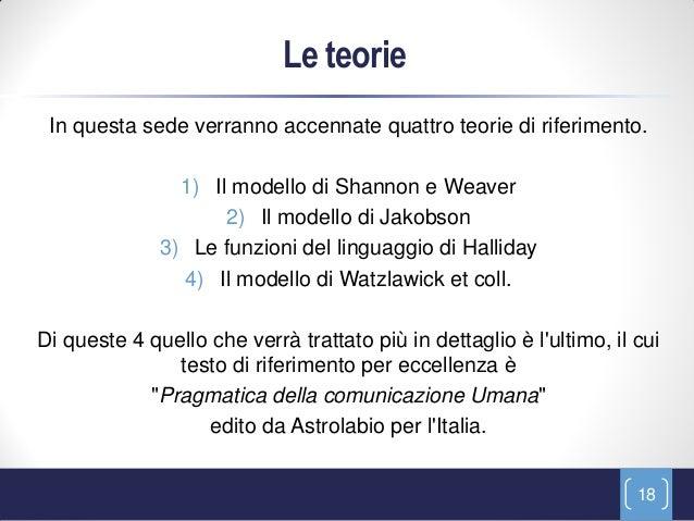 Le teorie In questa sede verranno accennate quattro teorie di riferimento.                1) Il modello di Shannon e Weave...