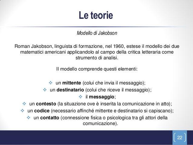 Le teorie                            Modello di JakobsonRoman Jakobson, linguista di formazione, nel 1960, estese il model...