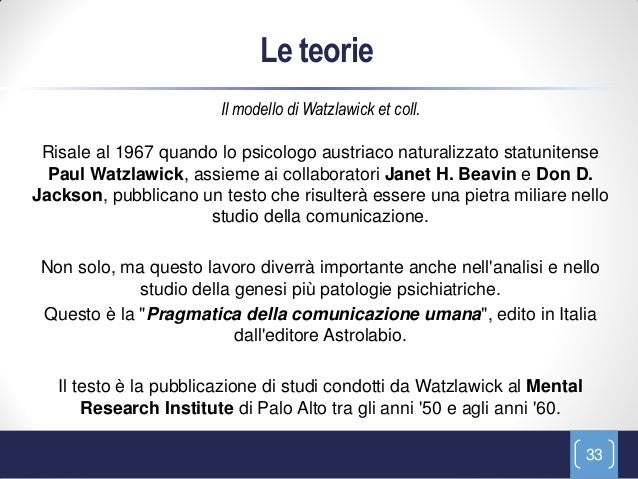 Le teorie                        Il modello di Watzlawick et coll. Risale al 1967 quando lo psicologo austriaco naturalizz...
