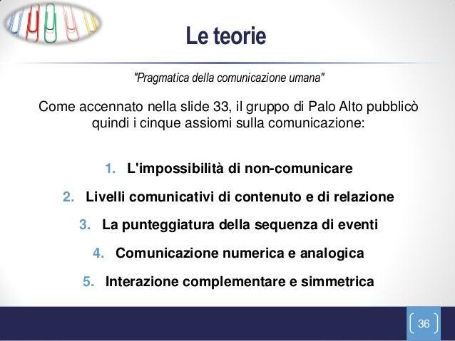 """Le teorie               """"Pragmatica della comunicazione umana""""Come accennato nella slide 33, il gruppo di Palo Alto pubbli..."""
