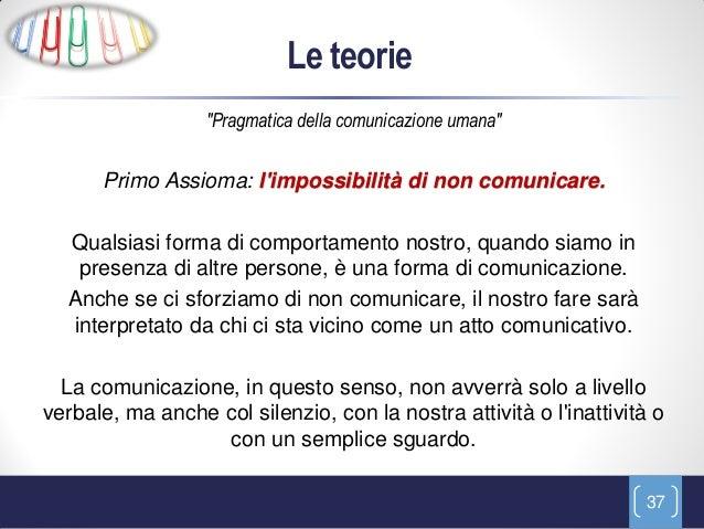 """Le teorie                  """"Pragmatica della comunicazione umana""""      Primo Assioma: limpossibilità di non comunicare.  Q..."""