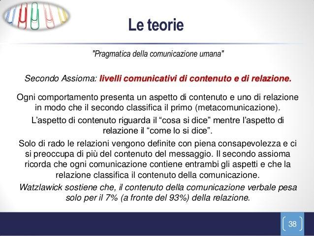 """Le teorie                   """"Pragmatica della comunicazione umana"""" Secondo Assioma: livelli comunicativi di contenuto e di..."""