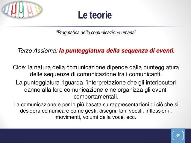 """Le teorie                 """"Pragmatica della comunicazione umana"""" Terzo Assioma: la punteggiatura della sequenza di eventi...."""