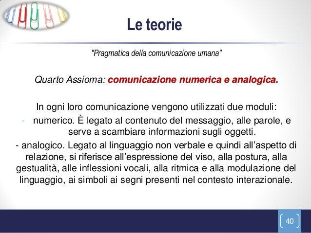"""Le teorie                   """"Pragmatica della comunicazione umana""""    Quarto Assioma: comunicazione numerica e analogica. ..."""