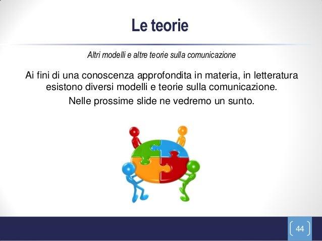 Le teorie              Altri modelli e altre teorie sulla comunicazioneAi fini di una conoscenza approfondita in materia, ...