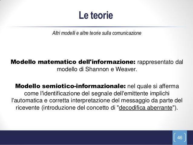 Le teorie                Altri modelli e altre teorie sulla comunicazioneModello matematico dellinformazione: rappresentat...