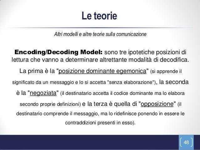 Le teorie                   Altri modelli e altre teorie sulla comunicazione Encoding/Decoding Model: sono tre ipotetiche ...