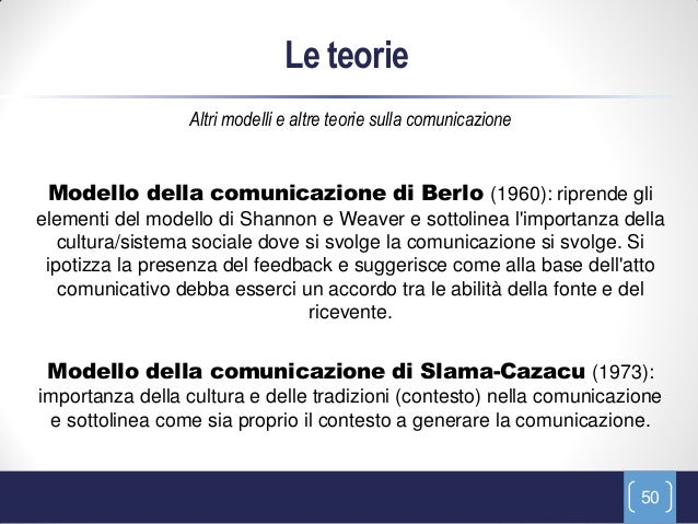 Le teorie                 Altri modelli e altre teorie sulla comunicazione Modello della comunicazione di Berlo (1960): ri...