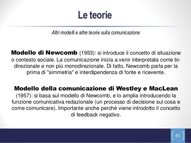 Le teorie                 Altri modelli e altre teorie sulla comunicazioneModello di Newcomb (1953): si introduce il conce...