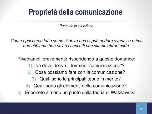 Proprietà della comunicazione                         Punto della situazioneCome ogni corso fatto come si deve non si può ...