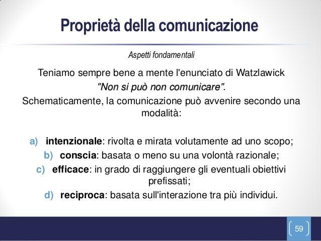 Proprietà della comunicazione                       Aspetti fondamentali   Teniamo sempre bene a mente lenunciato di Watzl...