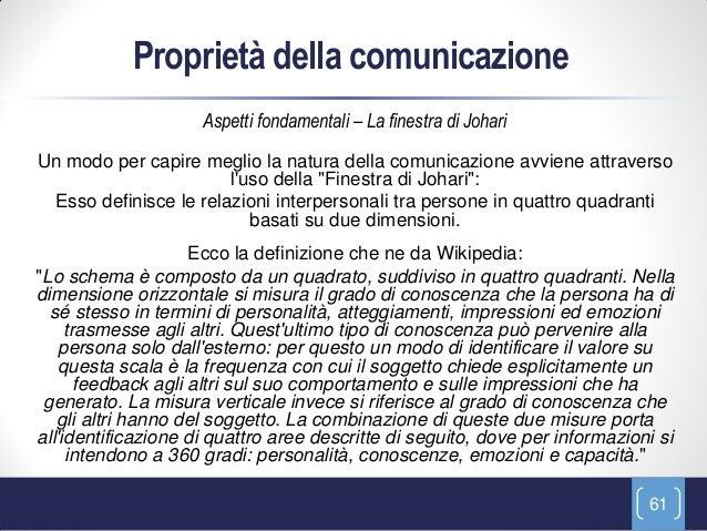 Proprietà della comunicazione                     Aspetti fondamentali – La finestra di JohariUn modo per capire meglio la...
