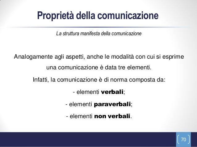 Proprietà della comunicazione               La struttura manifesta della comunicazioneAnalogamente agli aspetti, anche le ...