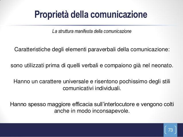 Proprietà della comunicazione                 La struttura manifesta della comunicazione Caratteristiche degli elementi pa...