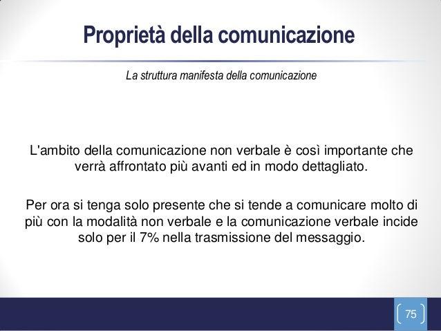 Proprietà della comunicazione                La struttura manifesta della comunicazioneLambito della comunicazione non ver...