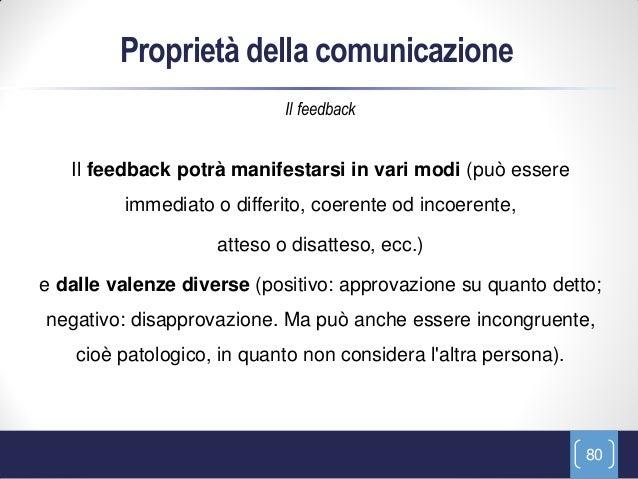 Proprietà della comunicazione                            Il feedback   Il feedback potrà manifestarsi in vari modi (può es...
