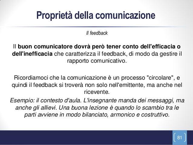 Proprietà della comunicazione                             Il feedbackIl buon comunicatore dovrà però tener conto delleffic...