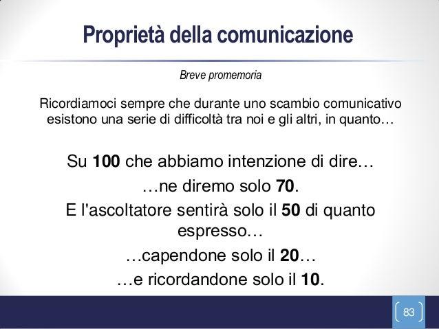Proprietà della comunicazione                         Breve promemoriaRicordiamoci sempre che durante uno scambio comunica...