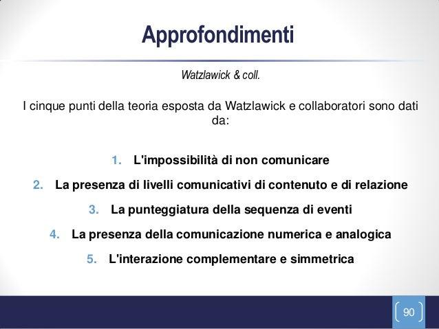 Approfondimenti                             Watzlawick & coll.I cinque punti della teoria esposta da Watzlawick e collabor...
