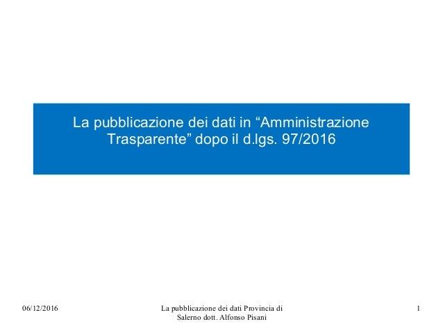 """La pubblicazione dei dati in """"Amministrazione Trasparente"""" dopo il d.lgs. 97/2016 06/12/2016 La pubblicazione dei dati Pro..."""