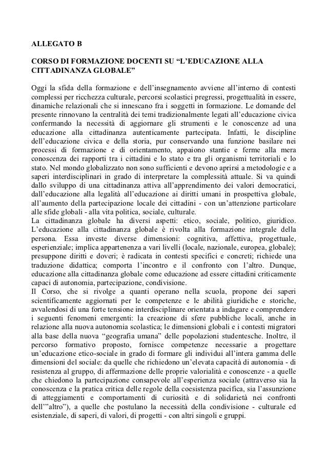 """ALLEGATO BCORSO DI FORMAZIONE DOCENTI SU """"L'EDUCAZIONE ALLACITTADINANZA GLOBALE""""Oggi la sfida della formazione e dell'inse..."""