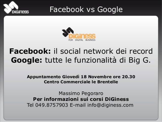 Facebook vs Google Facebook: il social network dei record Google: tutte le funzionalità di Big G. Appuntamento Giovedì 18 ...