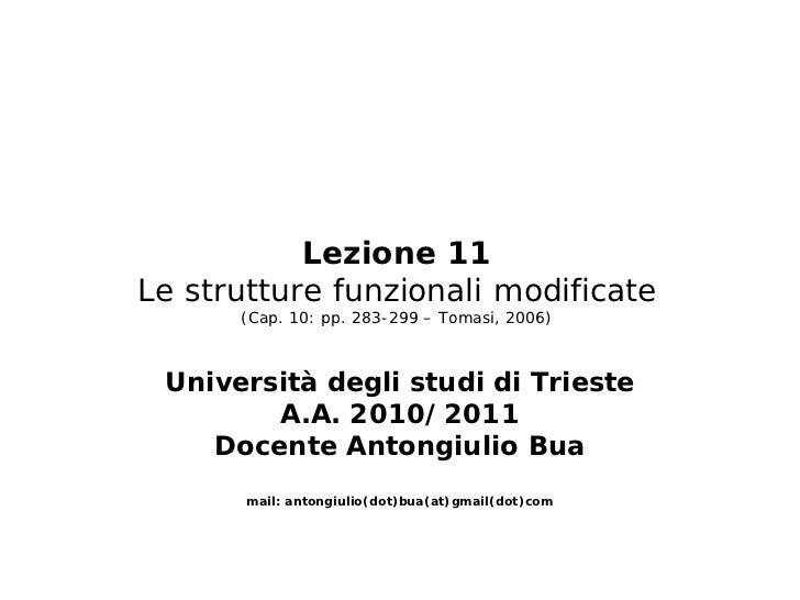 Lezione 11Le strutture funzionali modificate      (Cap. 10: pp. 283-299 – Tomasi, 2006) Università degli studi di Trieste ...