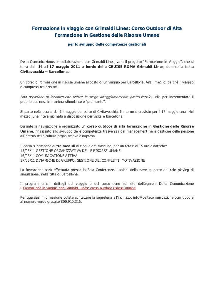 Formazione in viaggio con Grimaldi Lines: Corso Outdoor di Alta               Formazione in Gestione delle Risorse Umane  ...