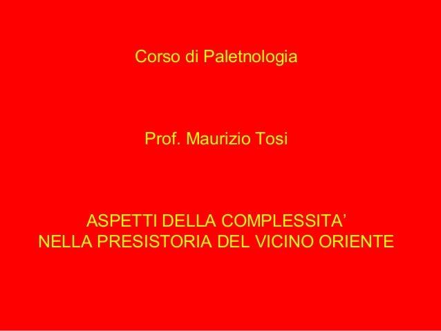 Corso di Paletnologia Prof. Maurizio Tosi ASPETTI DELLA COMPLESSITA' NELLA PRESISTORIA DEL VICINO ORIENTE