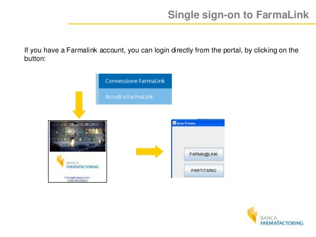 Single sign-on to FarmaLink If you have a Farmalink account, you can login directly from the portal, by clicking on the bu...