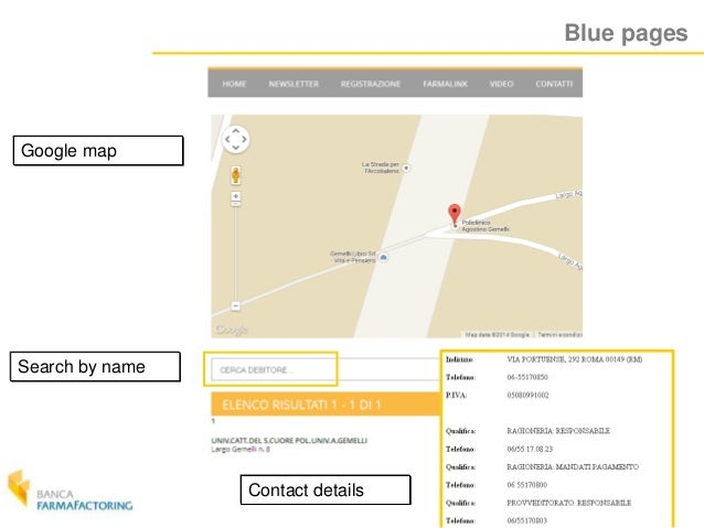 Blue pages Google map Search by name Contact details