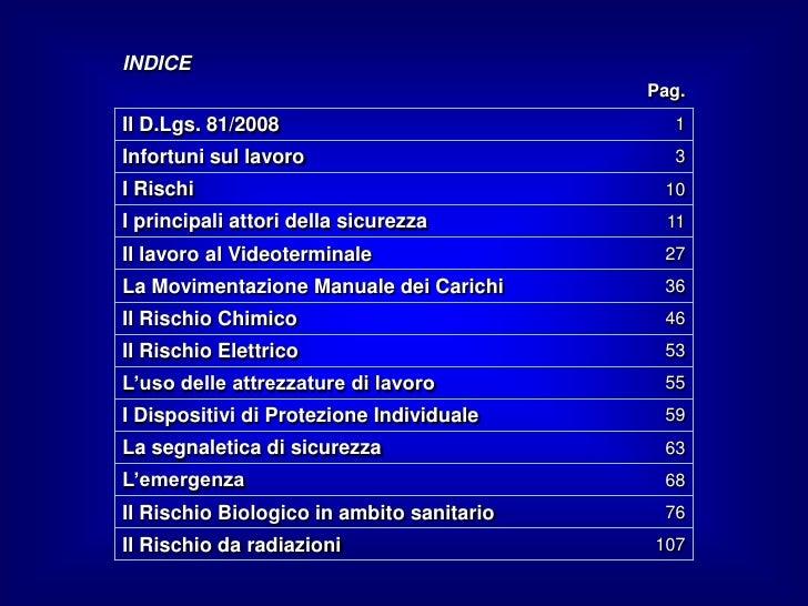 INDICE                                           Pag.Il D.Lgs. 81/2008                            1Infortuni sul lavoro   ...