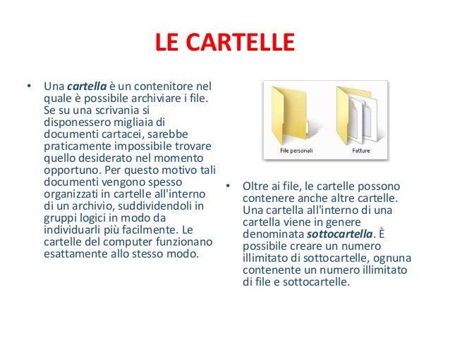 LE CARTELLE• Una cartella è un contenitore nel  quale è possibile archiviare i file.  Se su una scrivania si  disponessero...