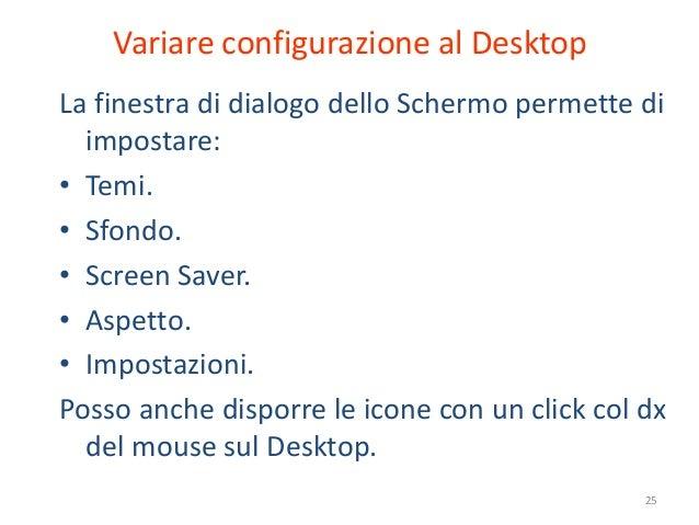 Variare configurazione al DesktopLa finestra di dialogo dello Schermo permette di  impostare:• Temi.• Sfondo.• Screen Save...