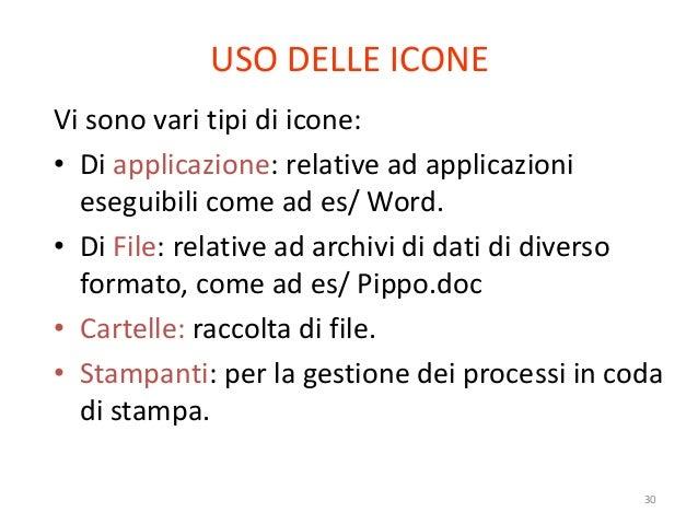 USO DELLE ICONEVi sono vari tipi di icone:• Di applicazione: relative ad applicazioni  eseguibili come ad es/ Word.• Di Fi...